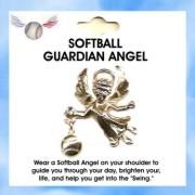 SOFTBALL Guardian Angel Pin With Austrian Crystal Stone