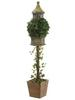 59'' Ivy Topiary w/BIRDHOUSE in Wood Container Green Brown(BULK)